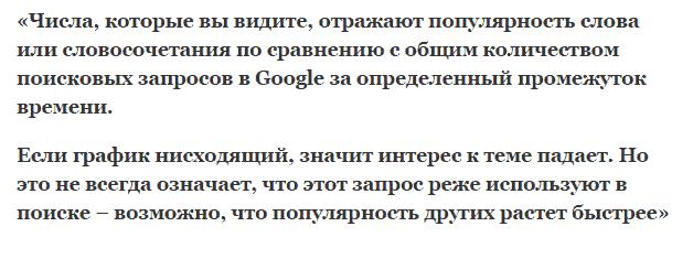 Что за цифры в Гугл тренте